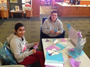 students making snowflakes at relaxation station winter 2015
